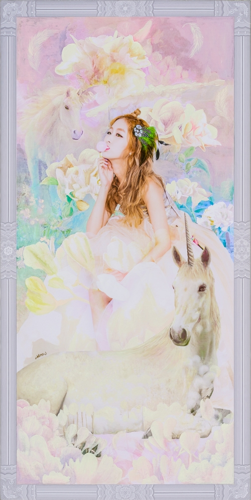 2016_10_The Creation of Muse_Vagarious Flower (Freesia and Unicorn)_79.5 x 40cm . oil & digital print on canvas . 2016 3000pixel 72dpi