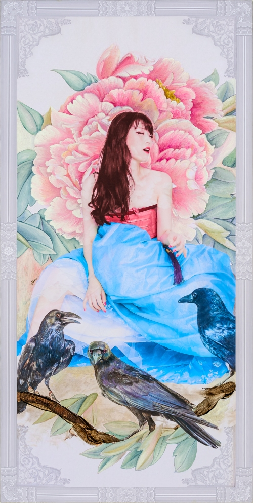 2016_10_The Creation of Muse_Desire Flower (Peony & Crow)_79.5 x 40cm . oil & digital print on canvas . 2016 3000pixel 72dpi