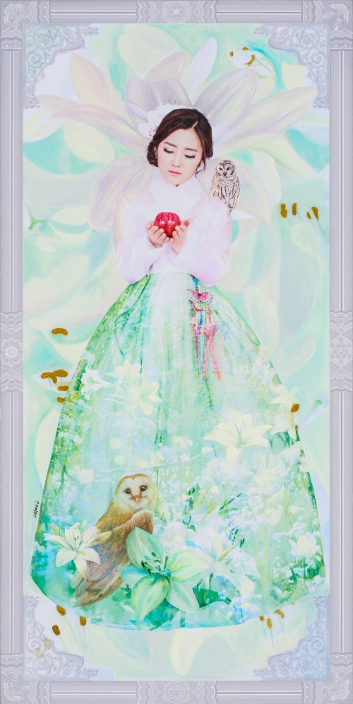 2016_10_The Creation of Muse_Pure Flower (Lily and Owl)_79.5 x 40cm . oil & digital print on canvas . 2016 3000pixel 72dpi